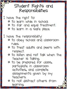 "student rights and responsibilities.  instead of ""rules"" just waiting to be broken."
