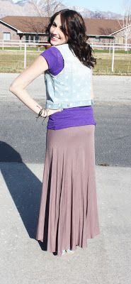 Maxi Skirt and Denim Vest...the idea works not the purple tee