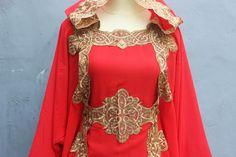 Red Kaftan Maxi Dress Kaftan Abaya Dubai Hoodie Caftan Bohemian Farasha Vintage Premium Quality Chiffon Cotton - One Size Fits All Dress