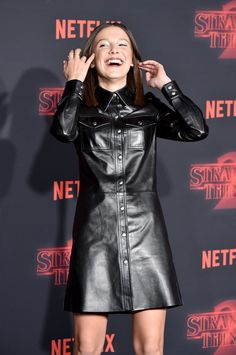 57a6b3cd42 Leather Dress Lookbook: Millie Bobby Brown wearing Calvin Klein Leather  Dress (28 of 33