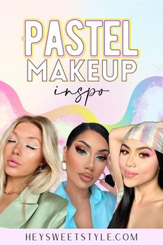 Pastel makeup is stunning on every skin complexion! I love it for the spring, it makes me insanely happy. I'm working on my makeup skills and definitely following these looks. Makeup Trends, Makeup Inspo, Makeup Inspiration, Simple Makeup, Natural Makeup, Pastel Makeup, Formal Makeup, Face Forward, Holiday Makeup