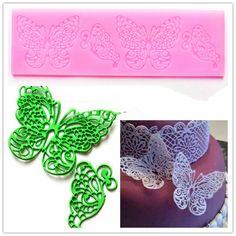 2015 nueva mariposa de silicona Fondant molde pastel de bodas de encaje herramientas para hornear decoración del partido molde accesorios de cocina HF249(China (Mainland))