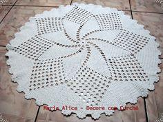 Arte em Crochê: Tapetes de Barbante Tapete Redondo MF 008 Medindo 0,82m de…