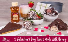 5 Valentine's Day Treats Made With Honey - the perfect sweets for you and your valentine to enjoy together! Tart, strawberries, truffles, cookies and cheesecake cups ... talk about yummy Valentine's Day options!