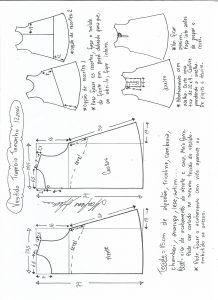 Esquema De Modelagem De Vestido Trapézio Tamanho 12 Anos