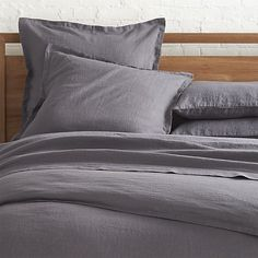 Lino Dark Grey Linen Duvet Covers and Pillow Shams  | Crate and Barrel