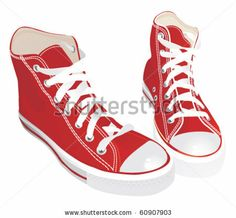 Hipster red sneakers - stock vector