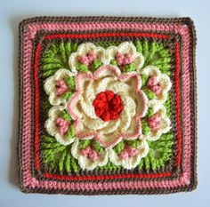 crochet flower square free pattern . Lots of free patterns at this site.
