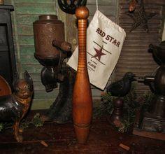 Primitive Rustic Antique Vtg Wooden 1 lb. Black Band Juggling Circus Bowling Pin #NaivePrimitive
