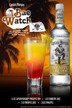 My summer motto: Sun's out. Rum's out. So get some Captain Morgan Pineapple Rum, make yourself a Bae Watch and make summer happen. #SunsOutRumsOut