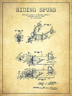 Riding Spurs Poster featuring the drawing Riding Spurs Patent Drawing From 1959…