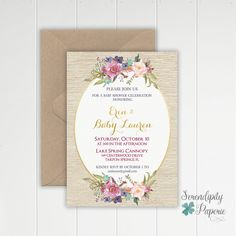 Rustic floral baby shower invitation boho chic baby shower