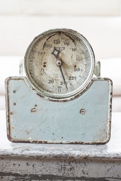 antique scale in a gorgeous blue | miss mustard seed