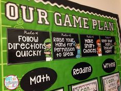 BTS in a FLASH! Sports themed focus board that displays classroom rules, I can statements, character traits, weekly story and vocabulary. All in a clean eye pleasing format. Sports Theme Classroom, Classroom Rules, School Classroom, Classroom Organization, Classroom Ideas, Sports Classroom Decorations, Apple Classroom, Classroom Behavior, Music Classroom