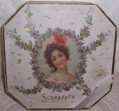 ANTIQUE Schrafft's Chocolate/Candy Box...Lady & VIOLETS Litho Label...SALE