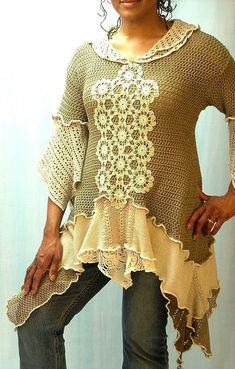 inspiration Taupe and Tan Crochet Linen Tunic by brendaabdullah, via Flickr