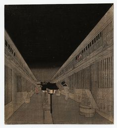 """Kuniyoshi Utagawa """"Yoshiwara at Night"""" c 1920, Japan"""