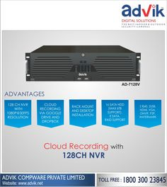 Cloud Recording with 128CH NVR!!! A value for money #security solution with #cloudrecording, Advik's 128CH #NVR is an absolute must have. It is equipped with HDMI, VGA, ONVIF, P2P and Watermark. A new age recorder with 1080P clarity, 128CH NVR is revolutionary product. It provides flexibile installation options; #desktop or rack mount. Further, E-SATA, Raid support and 16 SATA HDD (capacity 6TB each slot) give you an unparalleled experience.See more at:http://bit.ly/2klTUvQ