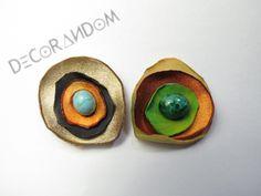 orecchini fiore di stoffa riciclata multicolor con perla di vetro recycled jewelry of5 di decorandom su Etsy
