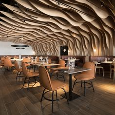 This is a beautiful design for a restaurant. It's very cozy feeling and welcoming while still serving as a nice, eating area. Restaurant Interior Design, Home Interior, Interior Architecture, Interior And Exterior, Architecture People, Industrial Office Design, Design Exterior, Commercial Architecture, Cafe Bar