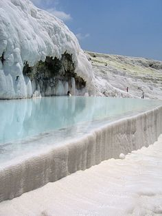 NOT SNOW or ICE but carbonite minerals left by flowing water Amazing Things: Pamukkale, Turkey