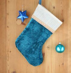botte de noe en tissu velout turquoise et soie blanche