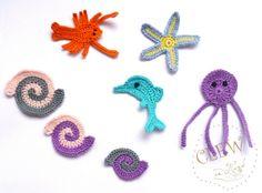 Crochet Applique Sea Creatures 7pcs - Dolphin, Shells , Crawfish , Octopus and Starfish