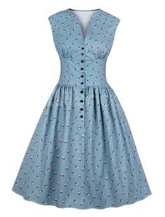 Women summer vintage dress floral print v-neck sleeveless pin up vestidos button fly evening party rockabilly retro dress Source by Dresses Elegant Dresses For Women, Pretty Dresses, Vestidos Vintage, Retro Dress, Dress Vintage, Vintage Tea, Vintage Floral, Vintage Summer Dresses, Swing Dress