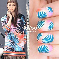 Tropical 28/29⠀  Polishes - Blue Jay // Banana Ice // Orchid Chic // Skin Silk // Autumn Harvest⠀
