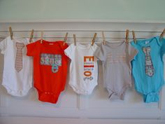 Boys Personalized Onesie Set, Perfect for Baby Shower Gift or Decoration - Gray and Orange, Bugs. $48.00, via Etsy.