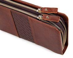 8070C Wholesale Leather Double Zipper Men's Wallets Leather Clutches Men Bag…
