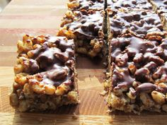 Chocolate-Slicked Chewy Crispy Bars by Shauna Sever from her book Real Sweet