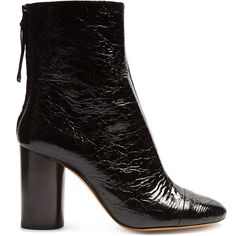 Isabel Marant Grover crinkle patent-leather ankle boots (8.050 ARS) ❤ liked on Polyvore featuring shoes, boots, ankle booties, ankle boots, footwear, zapatos, black, black block heel booties, black bootie boots and block heel ankle boots