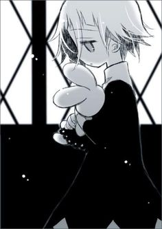 """Crona with a bunny. I like to believe he ran into Hunny from OHSHC and Hunny said """"You can borrow Usa-Chan for a while!"""""""