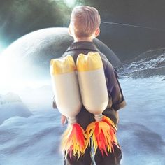 Make this jet pack for your little astronaut by upcycling 2-liter bottles!