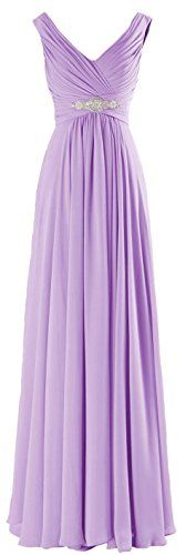 MaliaDress Women Long Chiffon Rhinestone Evening Bridesmaid Dress Prom Gown M160LF Lavender US18W -- You can find out more details at the link of the image-affiliate link.