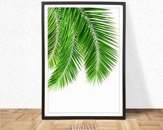 Tropical Print, Botanical Print, Palm Leaf Print, Green, Leaves, Scandinavian Poster, Plant Print, Palm Print, Large Poster, Leaf Print