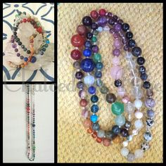 Chakra hand knotted bead necklace -  4-6-8mm beads -  genuine gemstones over 50 different crystals  www.facebook.com/chalcedonyrose