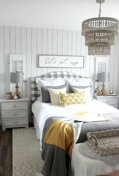 Home Remodeling Bedroom How to create a cozy bedroom for fall. Fall bedroom in white, gray, and mustard yellow and Let's Get Cozy Sign by Hymns and Verses. White Bedroom, Bedroom Design, Bedroom Diy, Stylish Bedroom, Stylish Bedroom Design, Fall Bedroom, Cozy Fall Bedroom, Remodel Bedroom, Yellow Bedroom