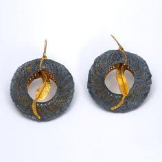 Earrings | Margot diCono ~ Studio Numen.  ' Almost Yin and Yan'  Bimetal 22K Gold/Sterling Silver, 24K Gold, 22K Gold, 14K Gold Earwires