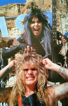 Blackie Lawless and Chris Holmes filming the Wild Child music video
