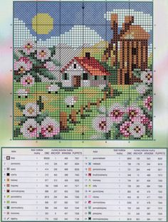 Gallery.ru / Фото #121 - Пейзаж 3 - logoped House with mill and flowers cross stitch