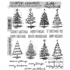 Tim Holtz Cling Rubber Stamps SCRIBBLY CHRISTMAS CMS249