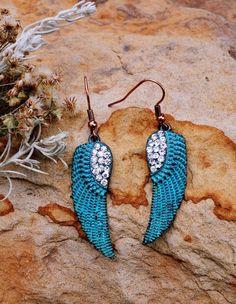 Cowgirl Bling Gypsy Earrings PATINA  ANGEL WINGS rhinestones Southwestern Boho #bogot #earrings