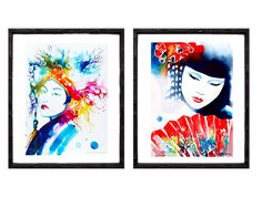 Set of 2 Fine Art Prints Geisha Japanese by KimberlyGodfrey