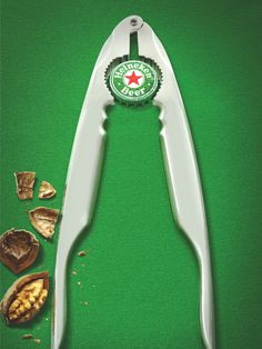 In this poster ad, Heineken does a great job using the nut cracker as a way to create the beer bottle with the negative space. And using a green background representing the green Heineken bottle, it makes it unmistakable what the ad is for. Ads Creative, Creative Advertising, Creative Brands, Web Banner, Banners, Brand Advertising, Advertising Campaign, Advertising Poster, Product Advertising
