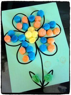 bricolage de printemps, fleurs en playmais, activité enfant