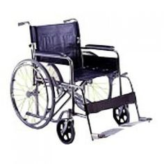 """Karma Healthcare Sunny-1C Standard Wheelchair with fixed footrest and armrest are made of chrome plated steel. It has 8"""" x 24"""" fixed solid rear wheel handbrake."""