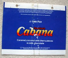 CABANA - 1981 ROWNTREE'S BRITISH UK Chocolate Candy Bar Wrapper