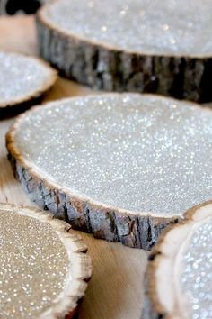 DIY Glitter Woodcut Centerpieces